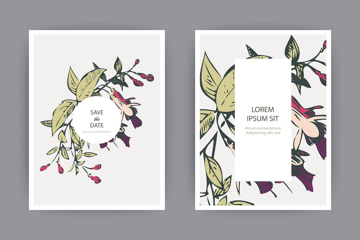Fuchsia flowers wedding invitation card template design example image 1