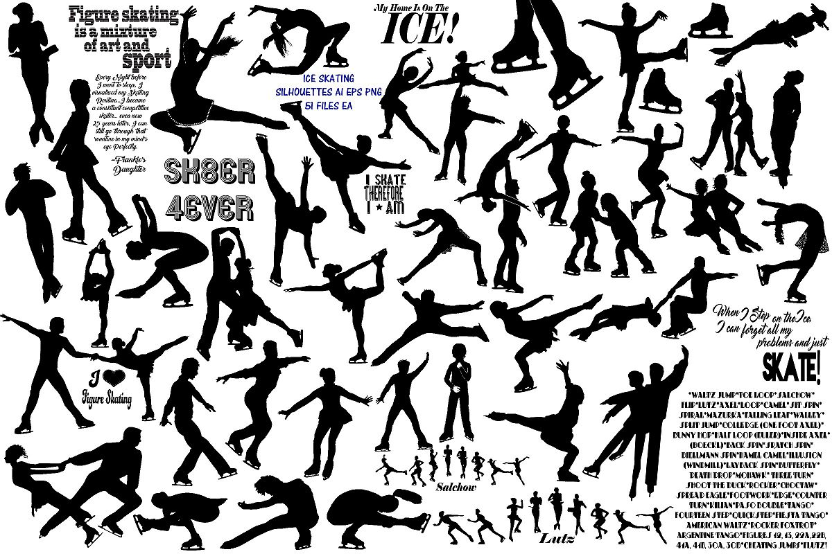 Ice Skating Silhouettes AI EPS PNG, Figure Skating example image 1