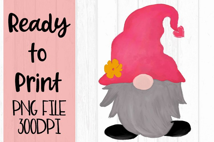 Valentine Watercolor Gnome Ready to Print example image 1