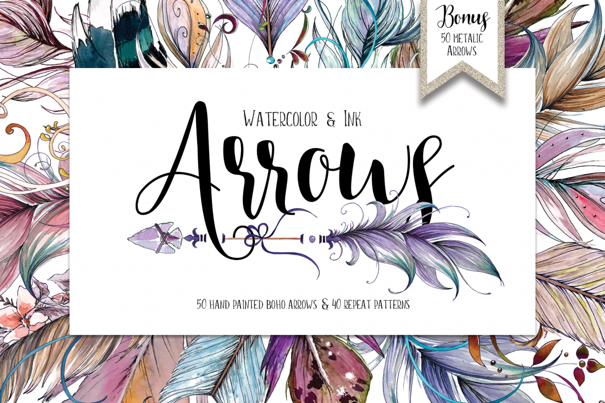 Watercolor & Ink Boho Arrows ClipArt example image 1