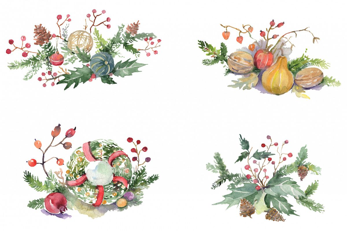 Christmas bouquet warmth of the soul Watercolor png example image 1