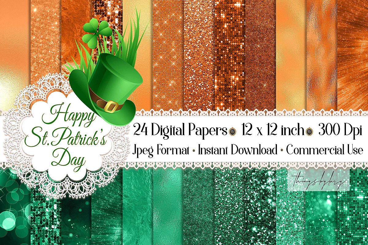 24 Luxury Saint Patrick's Day Digital Papers Glitter Sequin example image 1