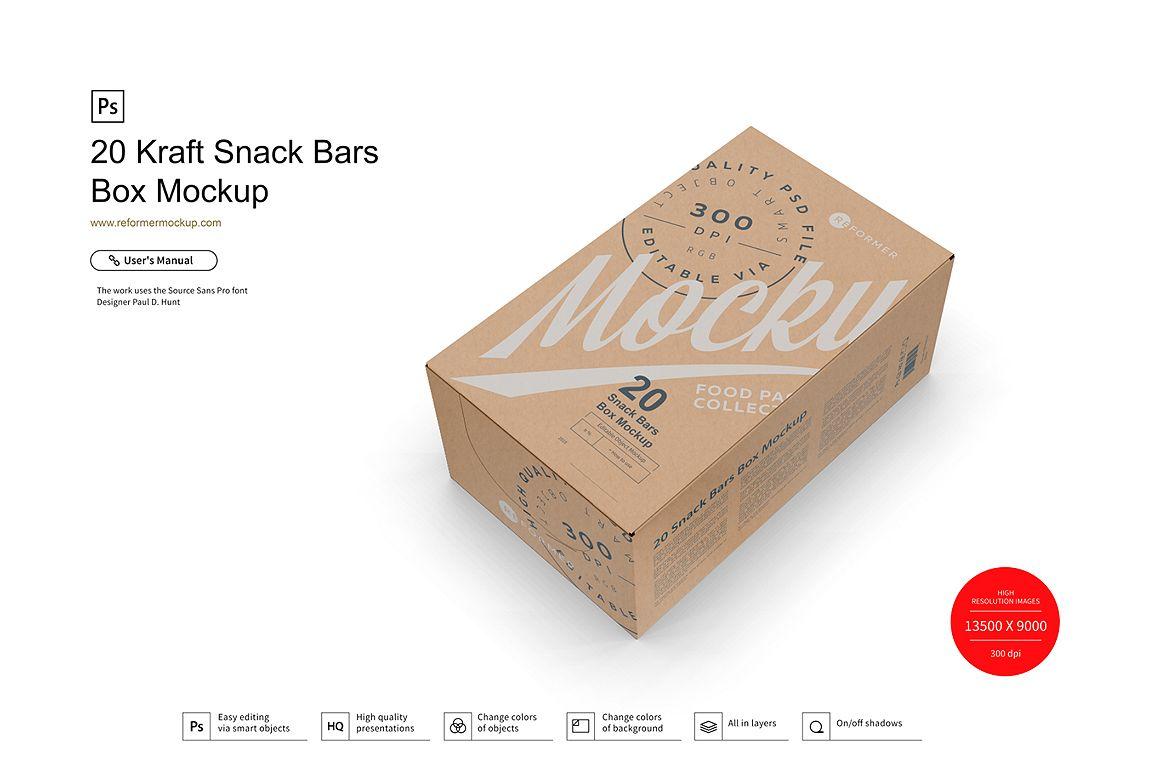 20 Kraft Snack Bars Box Mockup example image 1