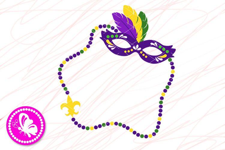 Mardi Gras mask svg Frame Monogram png Beads Fleur de Lis example image 1