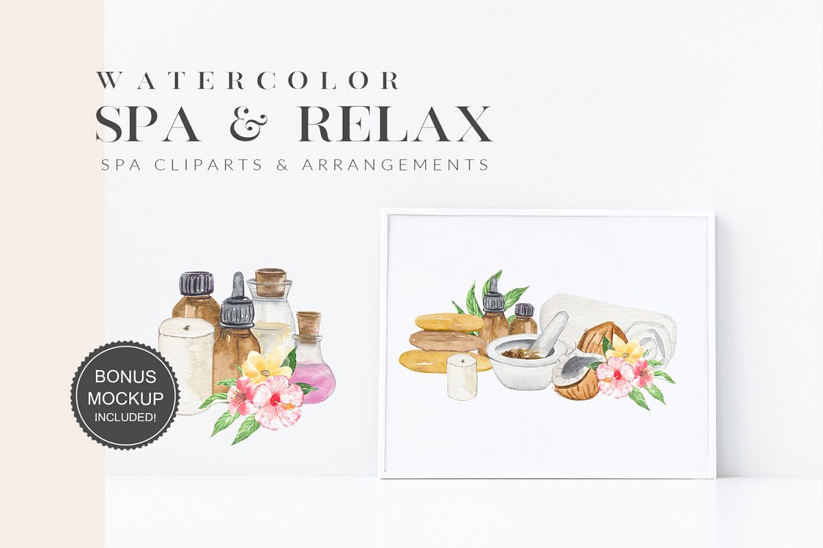 Watercolor Spa Illustrations Clipart Essential Oil, Tropical example image 1