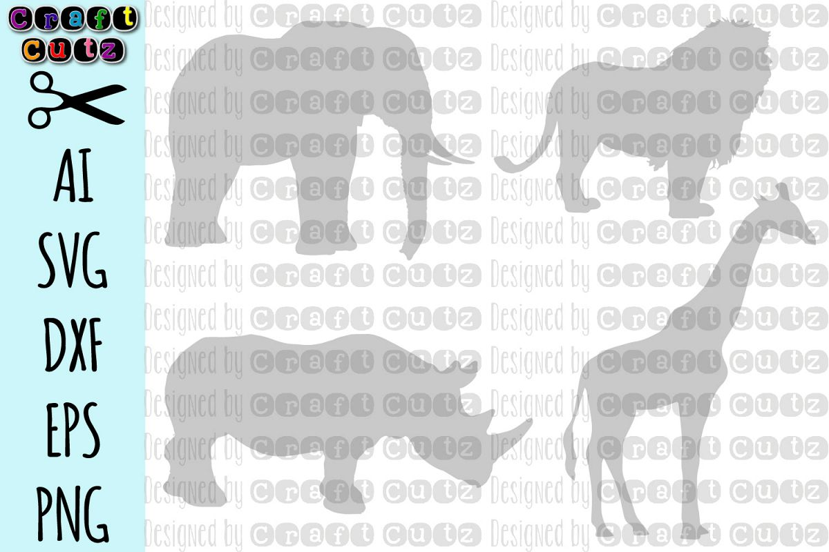 Safari, Giraffe dxf, Elephant cut file, Lion SVG, Rhinoceros example image 1