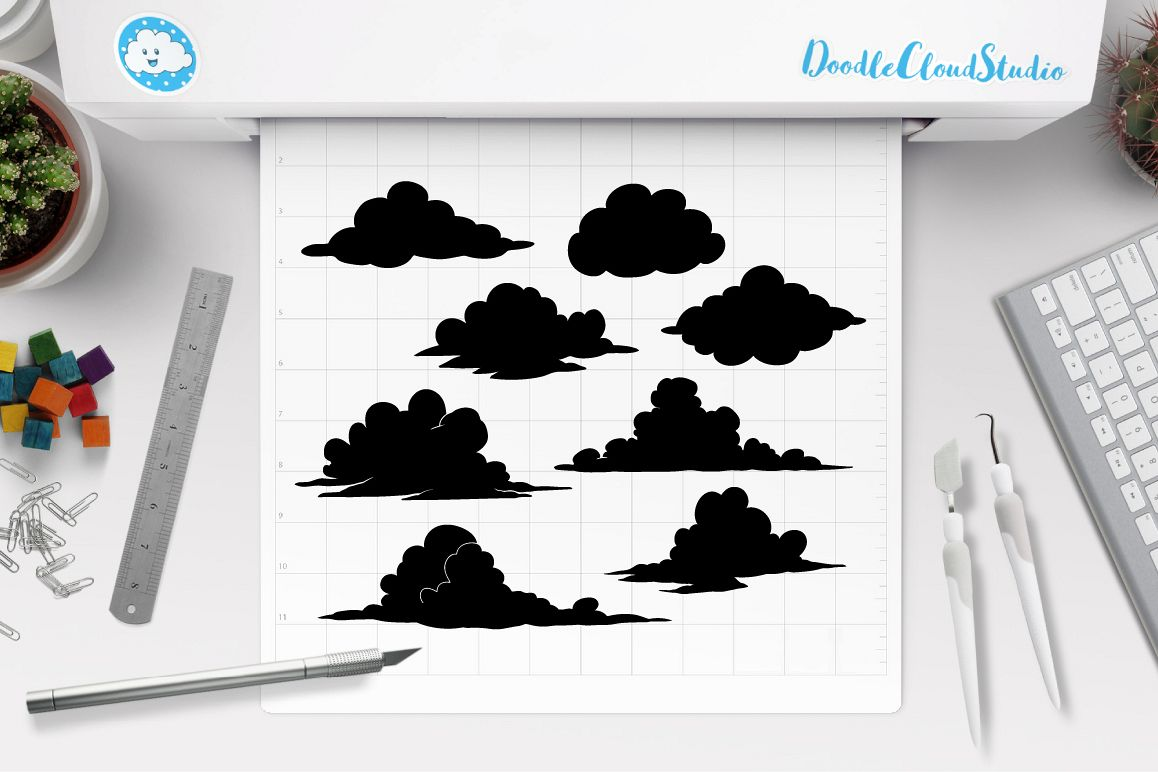 Clouds SVG files for Silhouette Cameo and Cricut  Clouds Weather svg & png,  Cartoon Clouds, Clouds clipart PNG, transparent included,