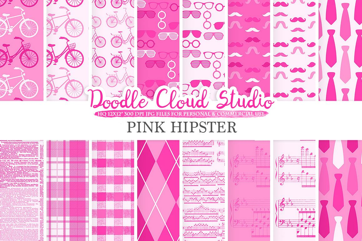 Pink Hipster digital paper, Vintage Father's day tie mustaches bikes music glasses plaid pattern, Instant Download Personal & Commercial Use example image 1