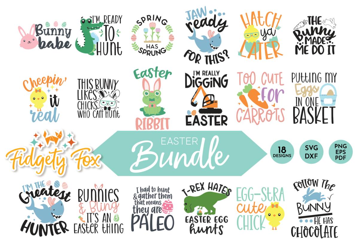 Cute Easter SVG Bundle, 18 original designs for Easter example image 1
