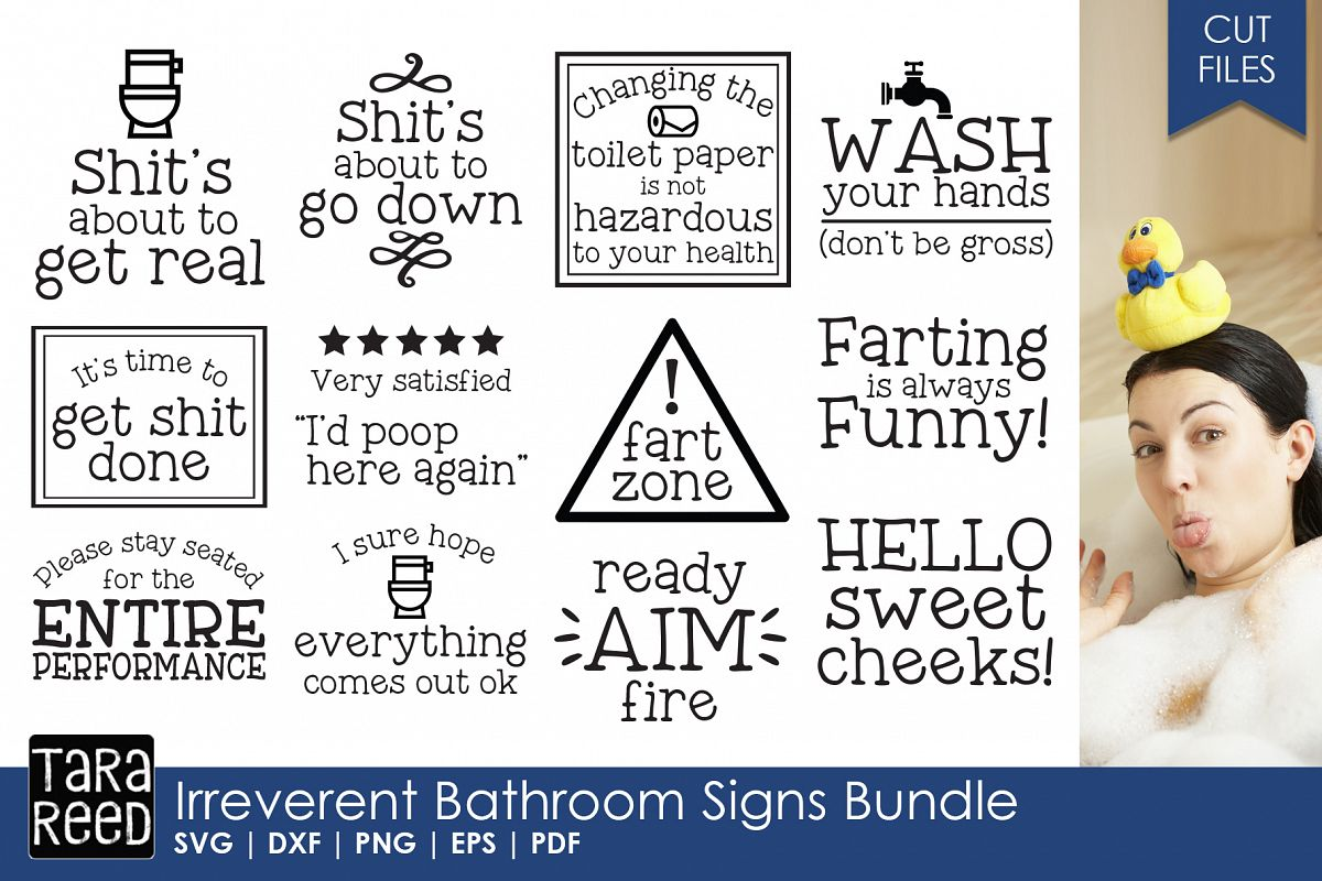 irreverent bathroom signs bundle by tar design bundles