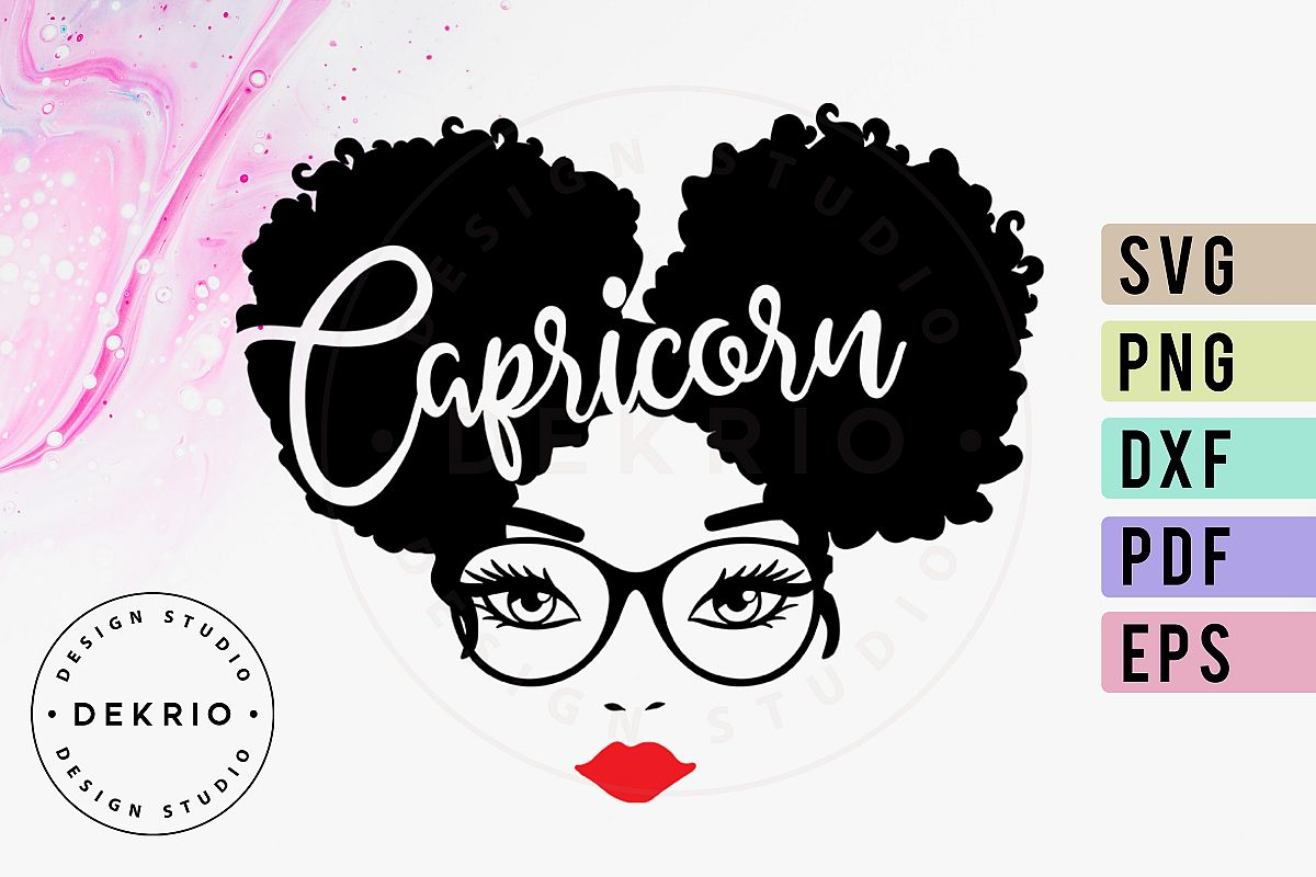 Capricorn Afro Woman SVG PNG DXF EPS PDF Files example image 1