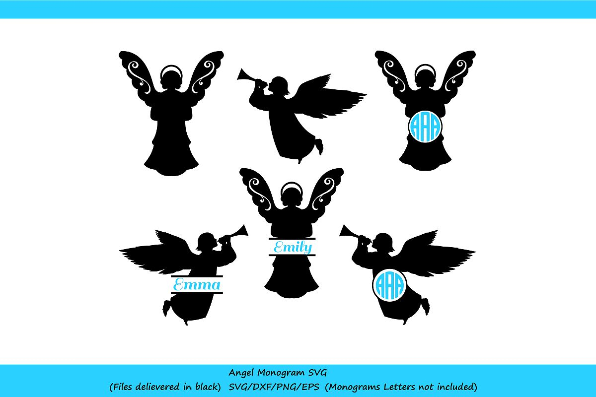 Angel SVG File   Silhouette Monogram Angels example image 1