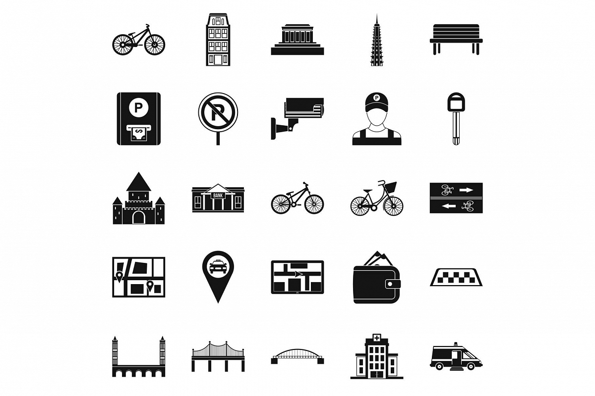 Getting around the city icons set, simple style example image 1