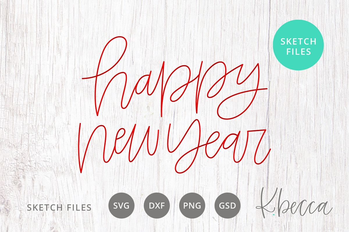 Foil Quill Sketch Happy New Year SVG example image 1