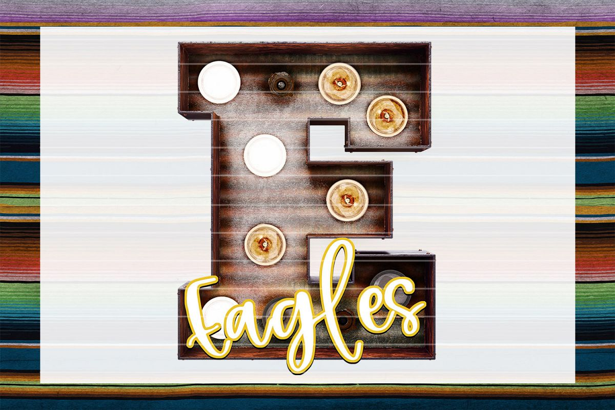 Eagles Rusted Tin Marquee Sublimation PNG example image 1
