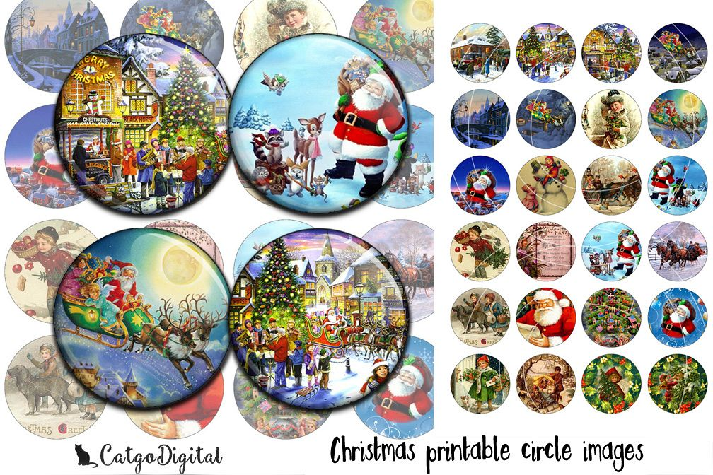 Christmas printable circle images 1 inch and 1.5 inch example image 1
