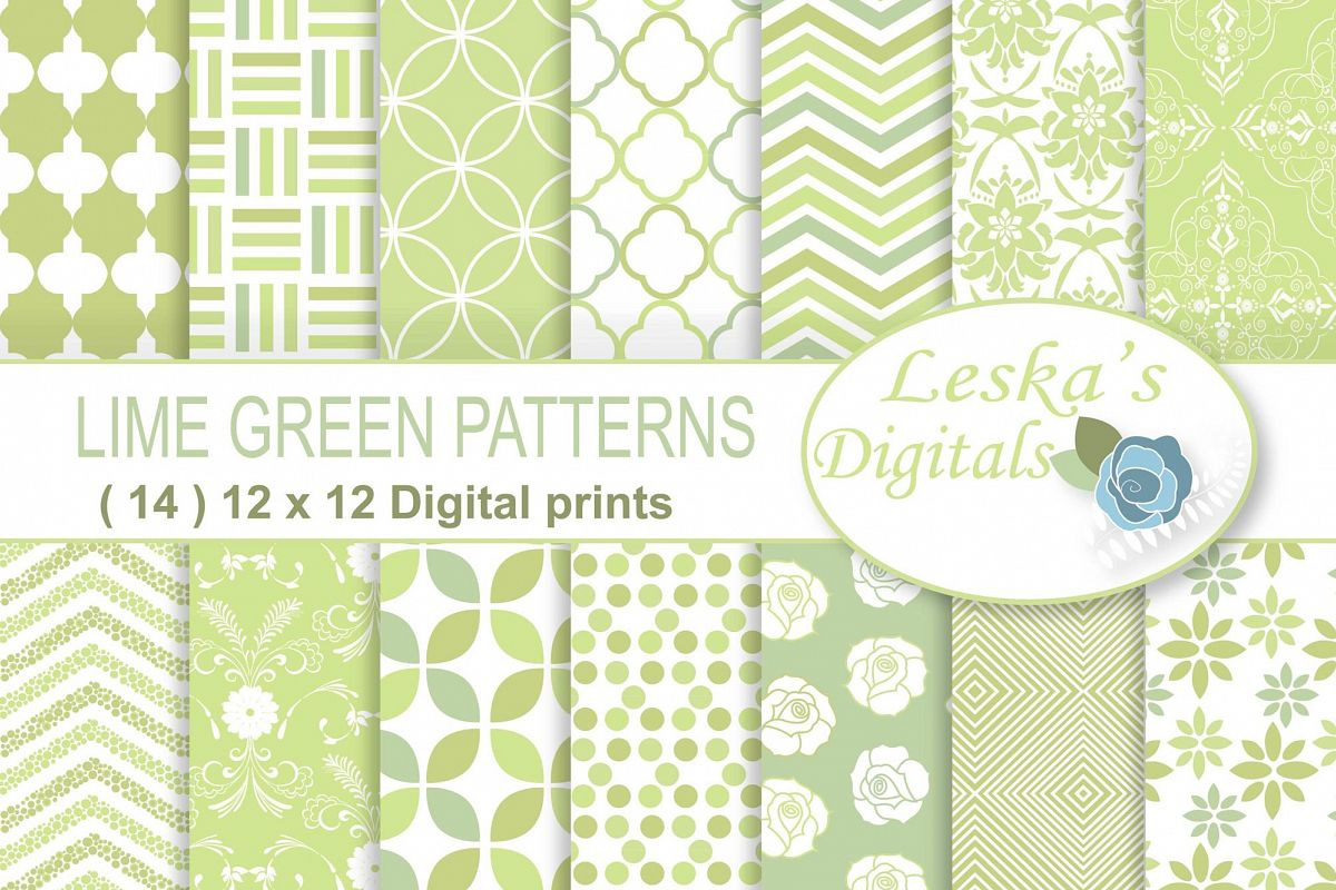 Lime Green Patterned Digital Paper example image 1
