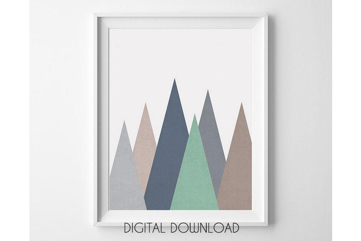 Geometric Mountain Print, Nursery Mountain Wall Art example image 1