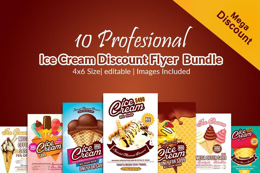 10 Ice Cream Discount Flyer Template Bundle example image 1