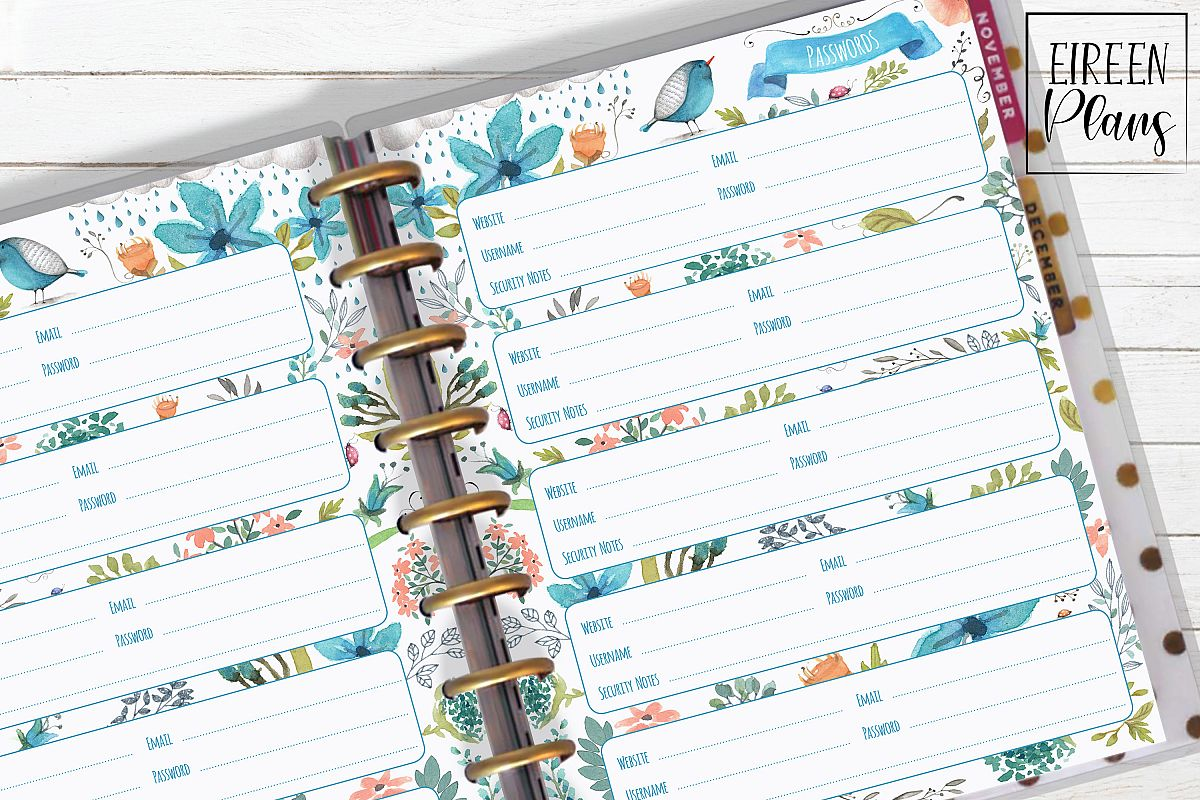 picture about Happy Planner Printable identified as Pword Keeper Printable for Clic Delighted Planner