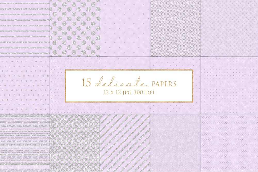 15 Lilac and Silver Digital Paper Pack example image 1