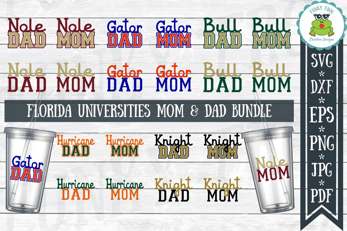 Florida Universities Mom and Dad SVG Cut File Bundle for Cra example image 1