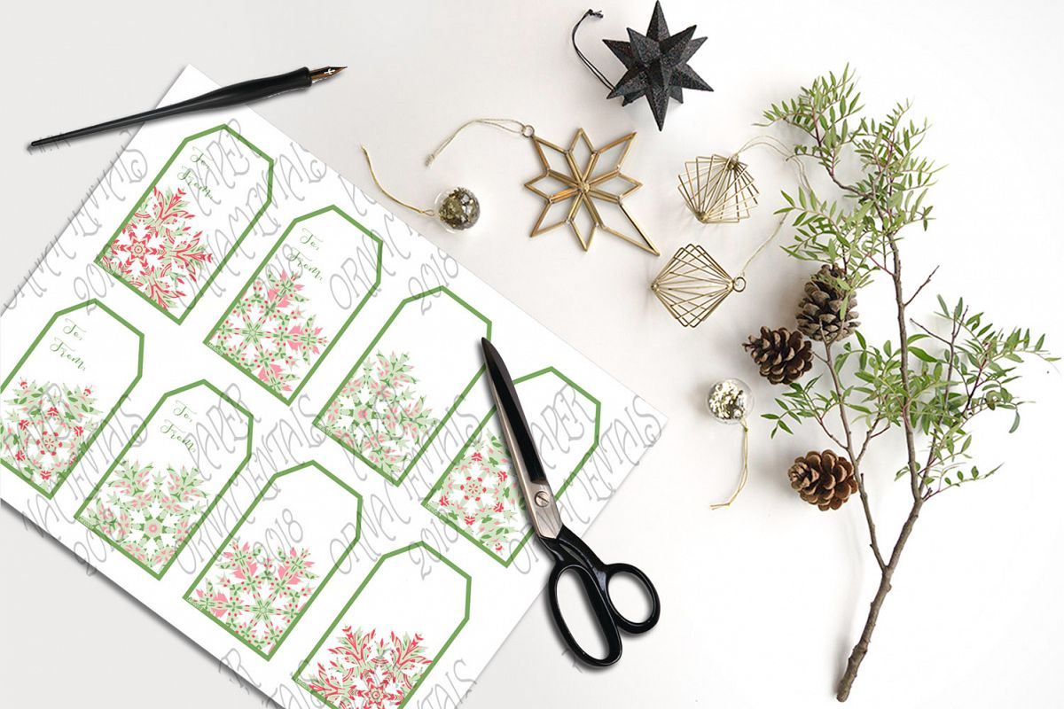 Printable Holiday Gift Tags, Snowflake To/From Tags example image 1