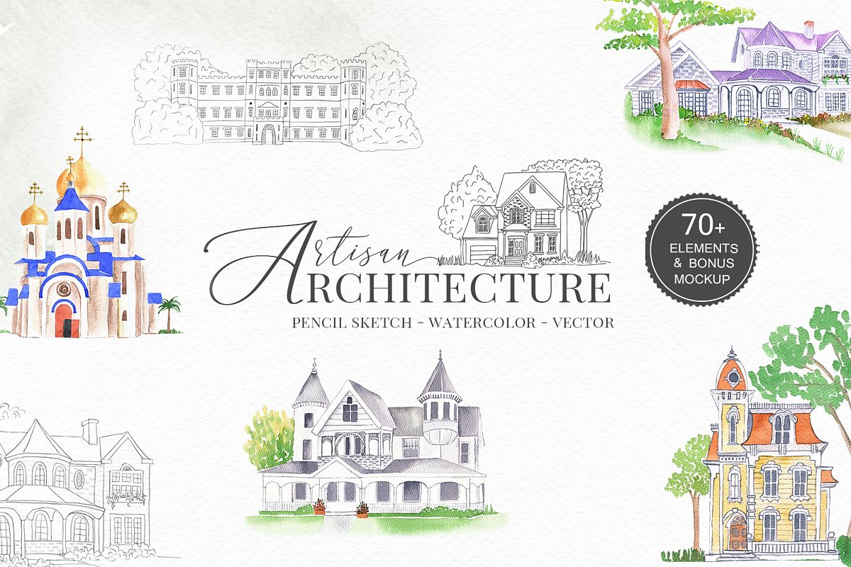 Venues Houses Watercolor , Sketch , Vector Graphics example image 1