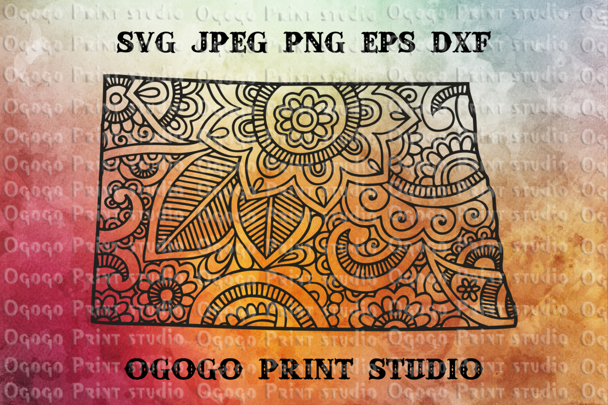 North Dakota SVG, Home svg, Zentangle SVG, State svg,Mandala example image 1