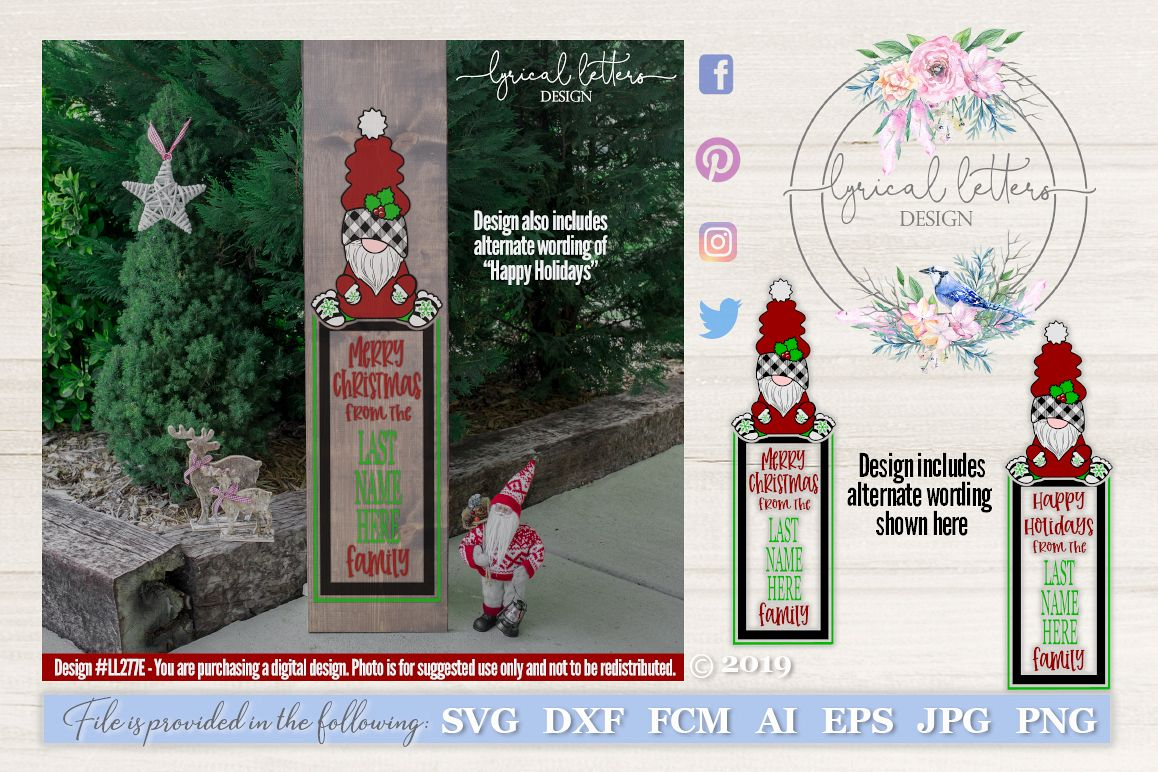 Merry Christmas Gnome Vertical Sign SVG Cut File LL277E example image 1