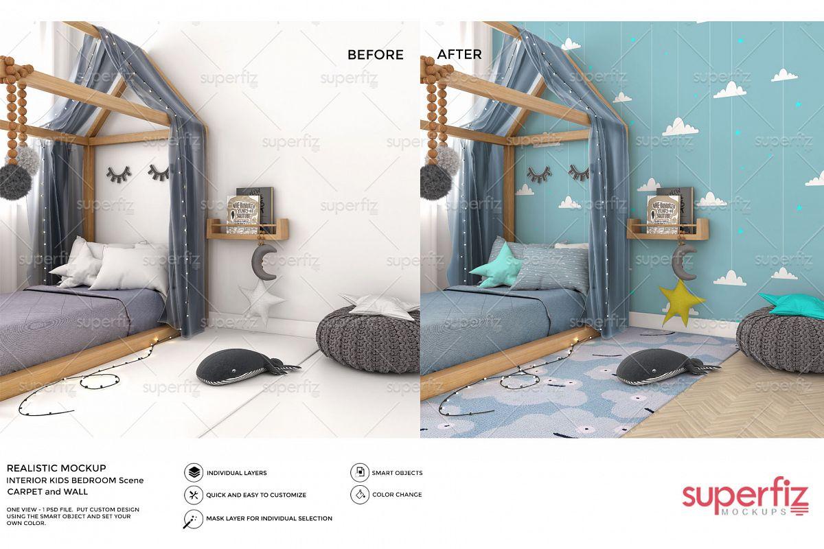 Wallpaper Mockup Kids Bedroom SM59 example image 1