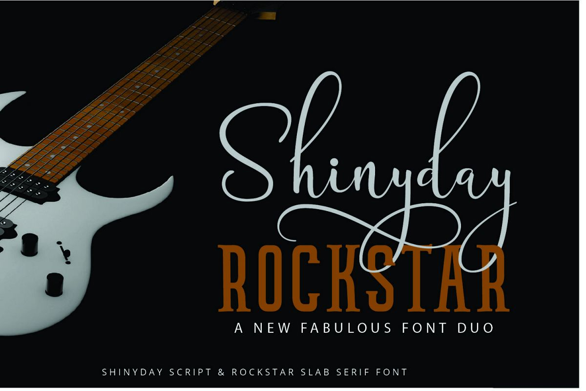 Shinyday & ROCKSTAR font duo example image 1