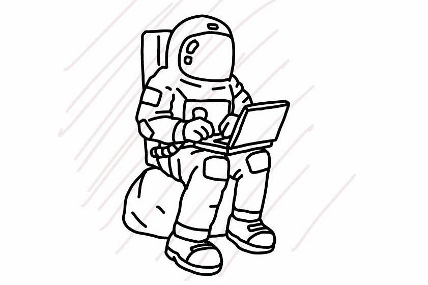Astronaut sitting using a laptop - SVG/JPG/PNG Hand Drawing example image 1