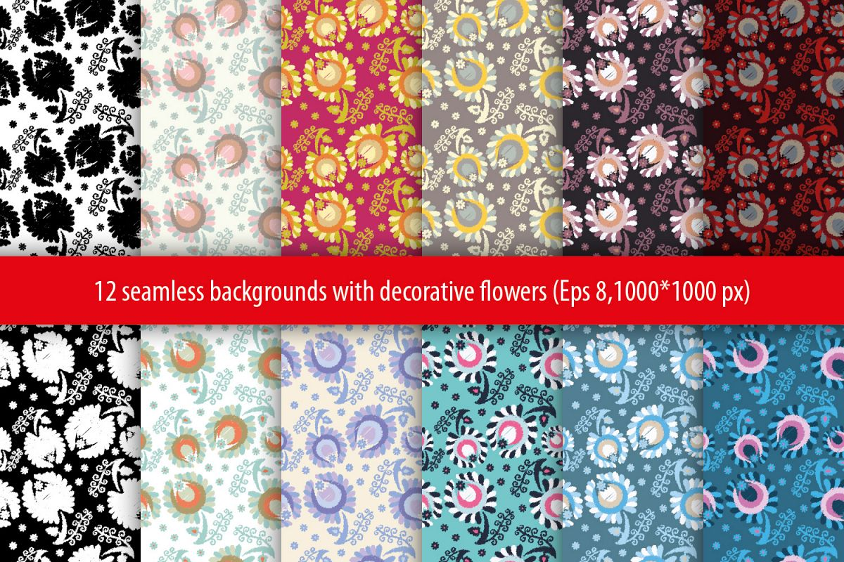 Set of 12 seamless pattern with decorative flowers.  example image 1