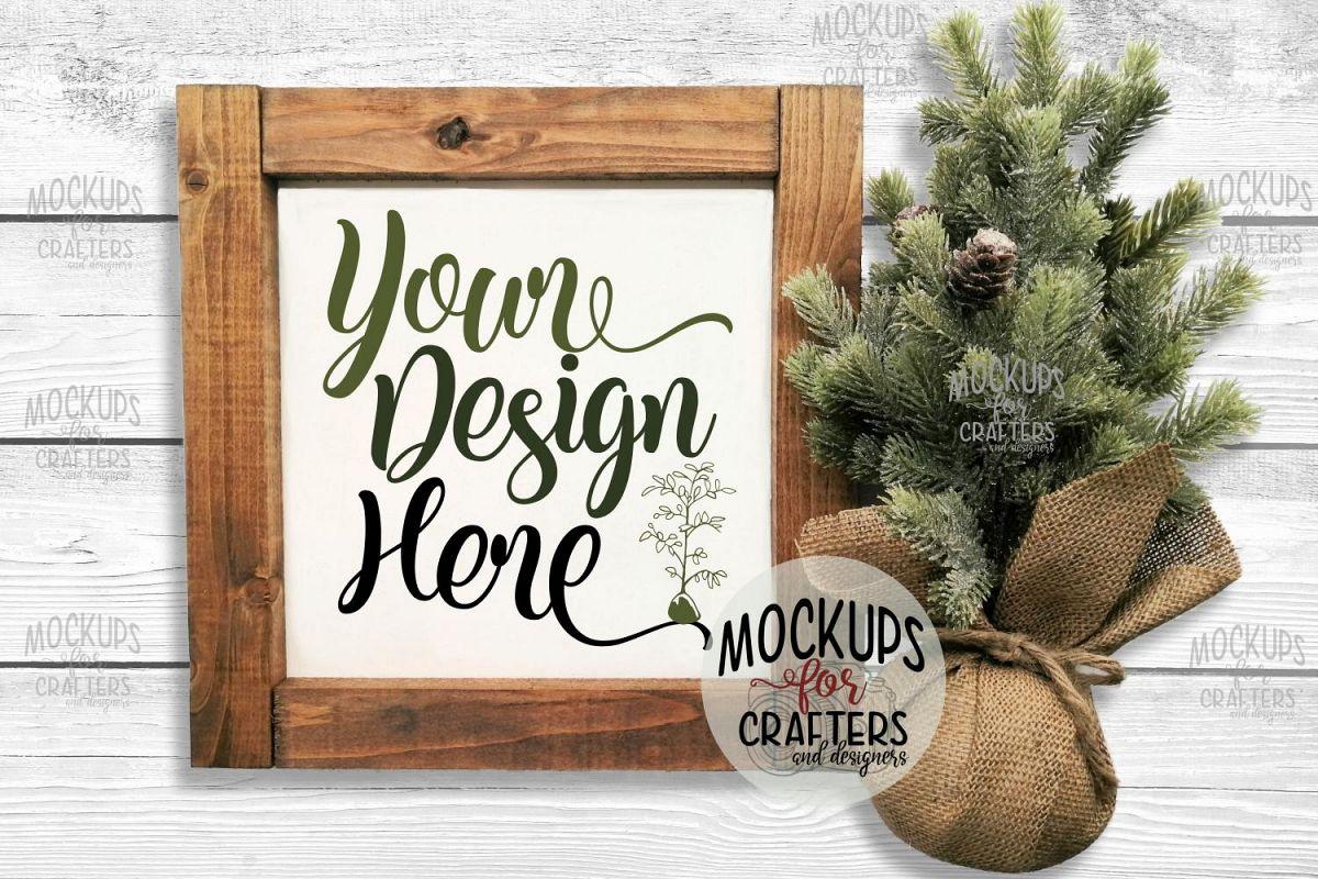 Wood Sign Mock-Up - Winter/Christmas theme example image 1