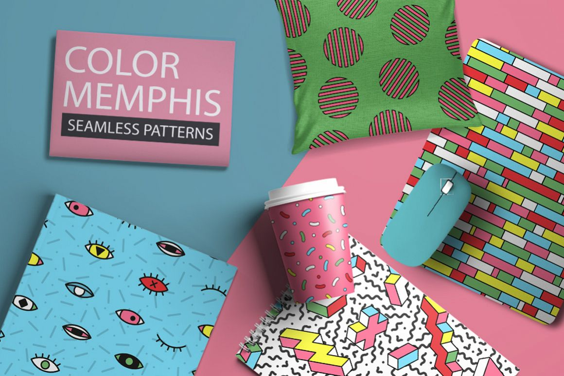 Bright seamless memphis patterns example image 1