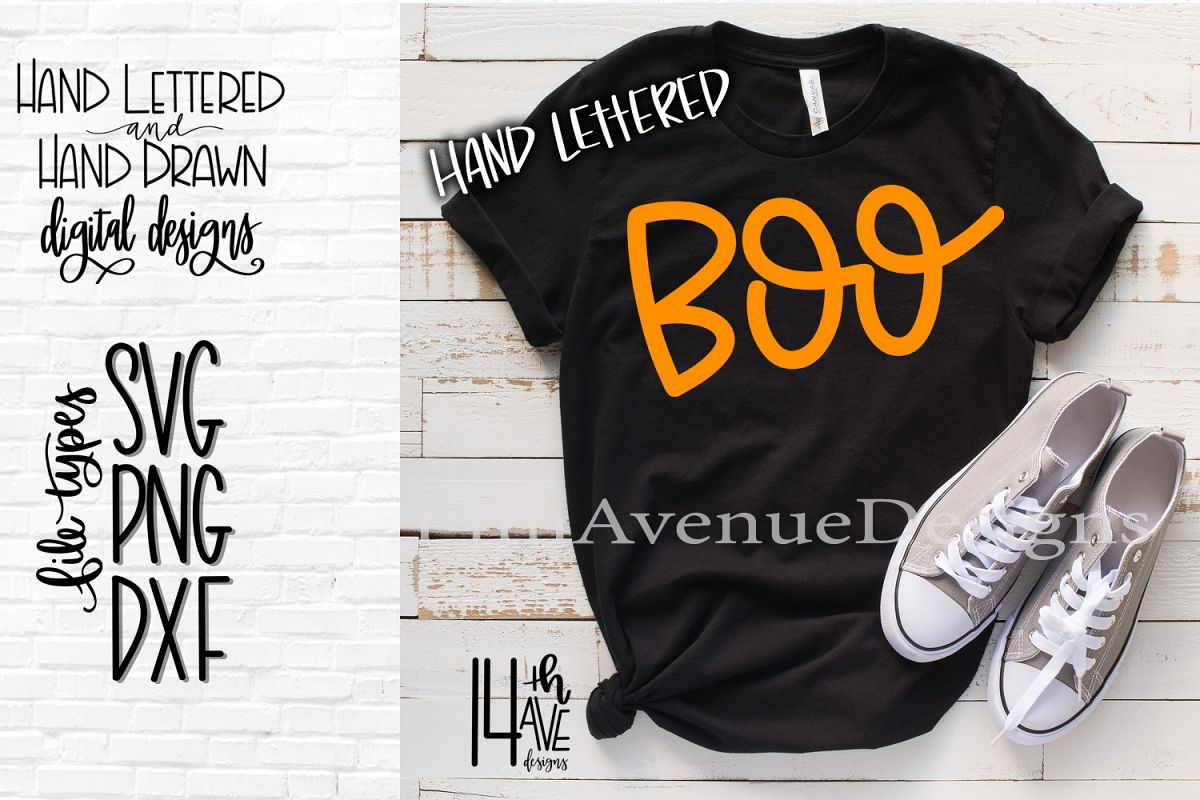 Boo SVG, Halloween Hand Lettered SVG, DXF, PNG example image 1