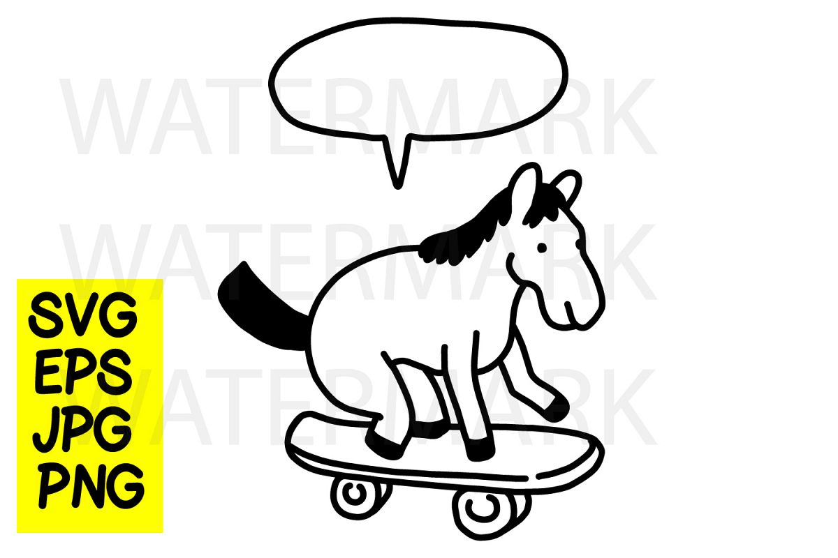 A Horse on Skate- SVG-EPS-JPG-PN example image 1