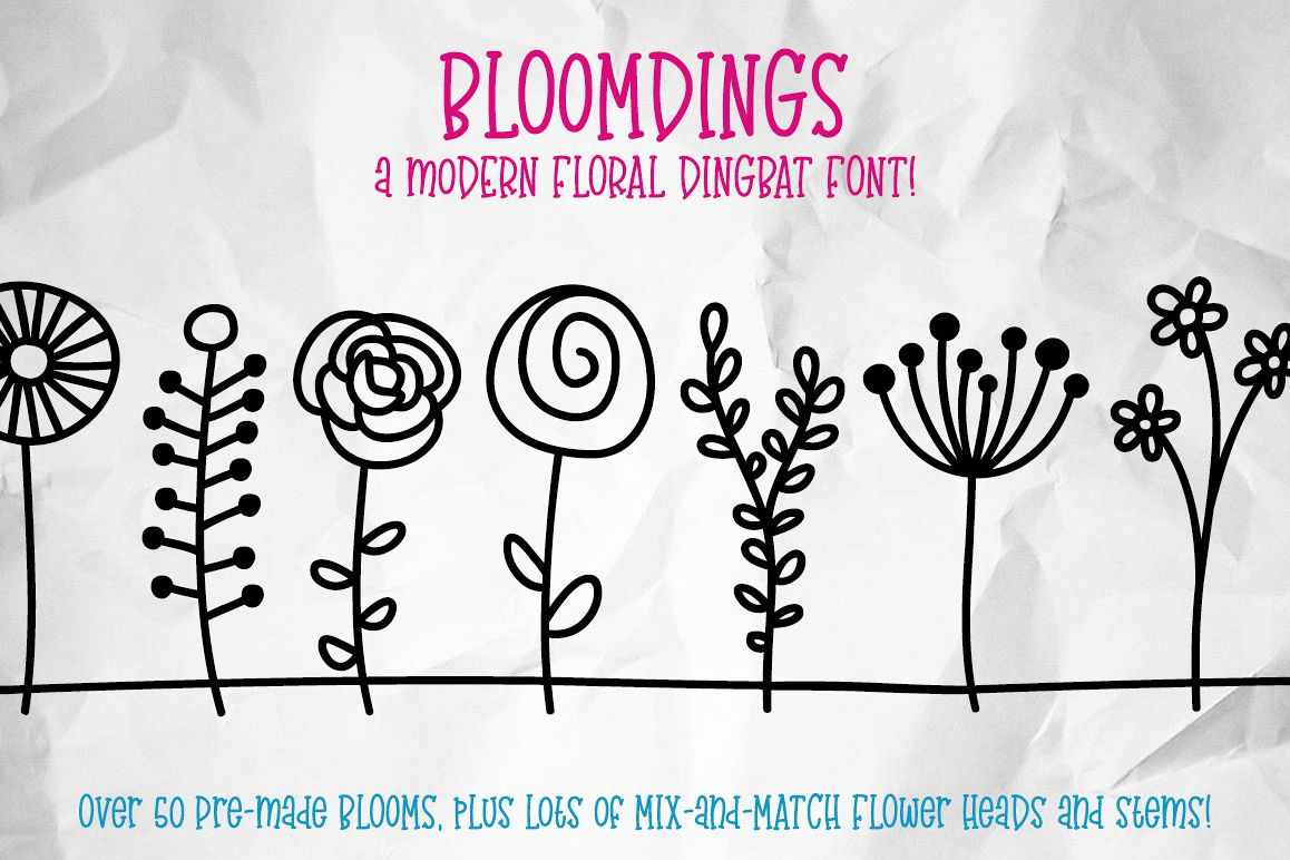 Bloomdings - abstract floral dingbats! example image 1