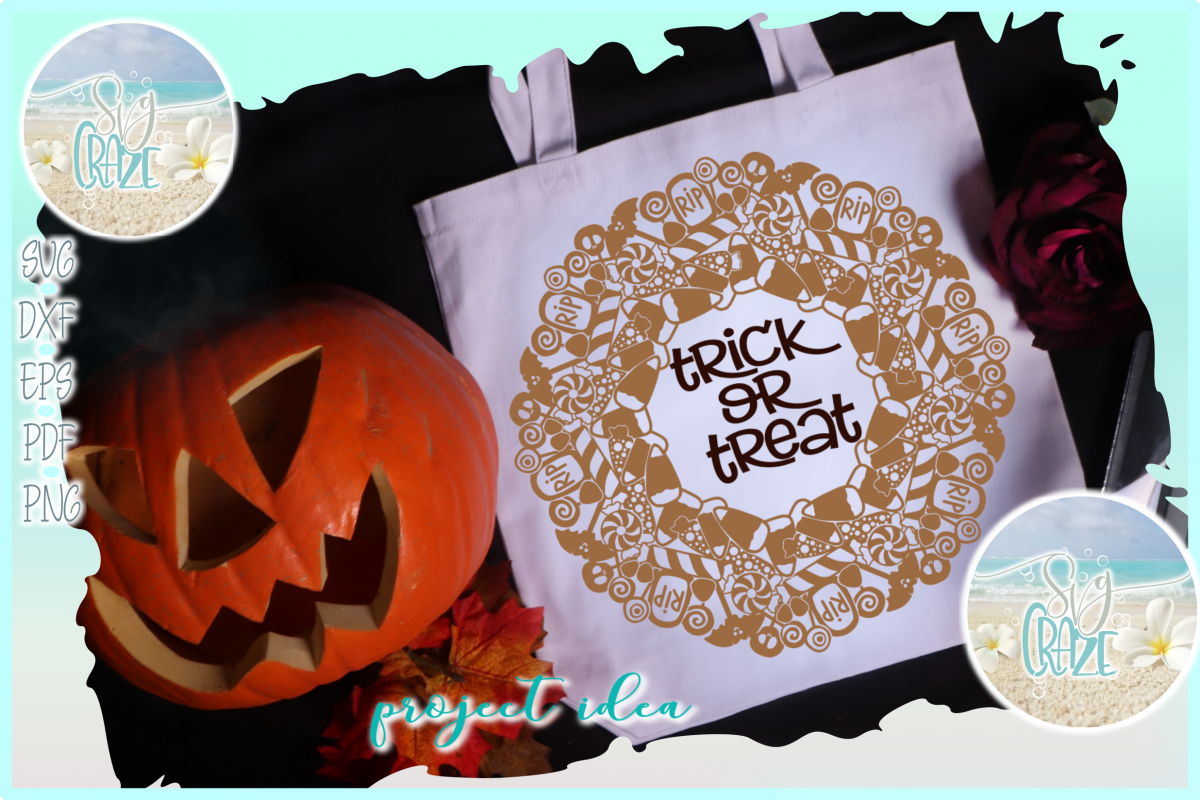 Trick or Treat Halloween Candy Mandala Zentangle SVG example image 1