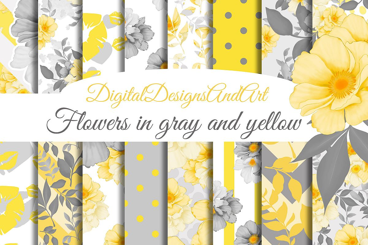 Yellow And Gray Floral Papers