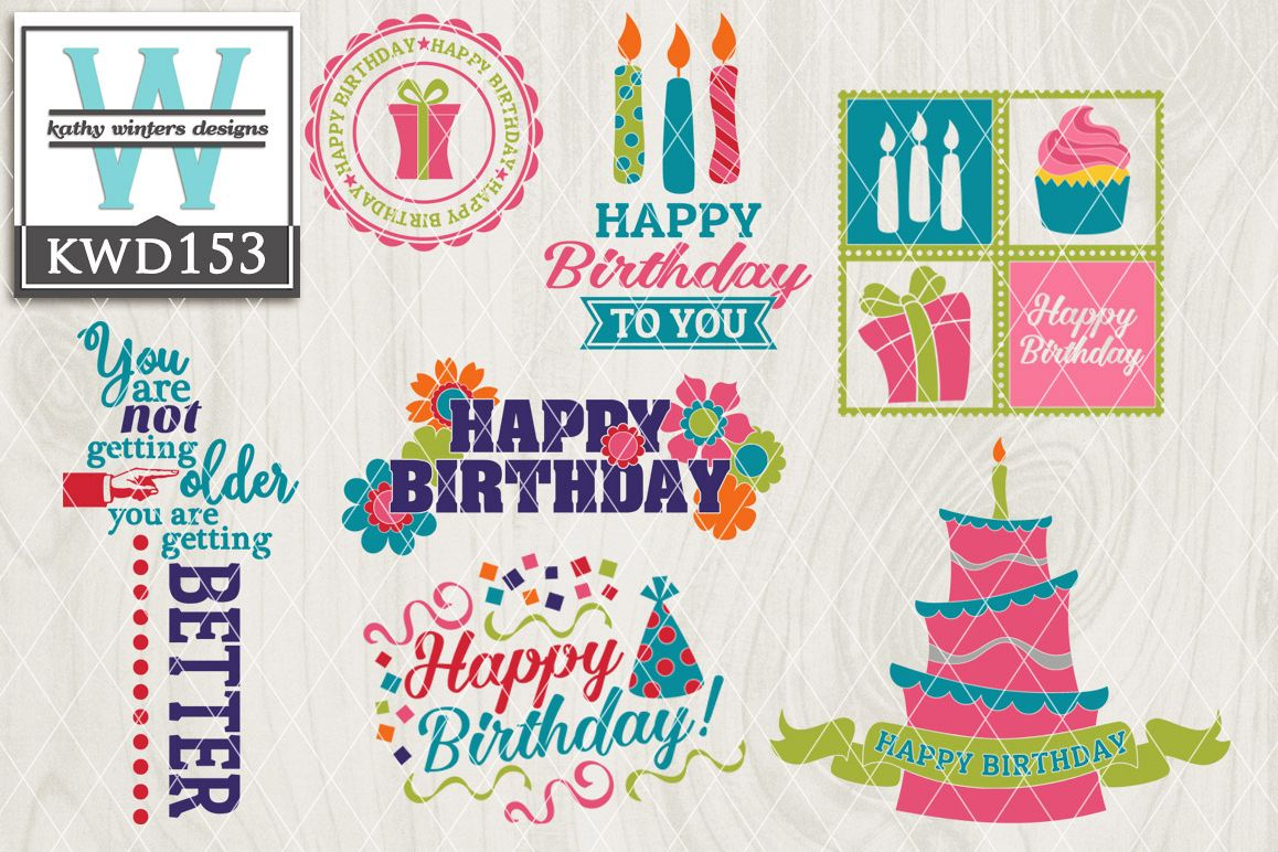 Birthday Cutting File KWD153 example image 1