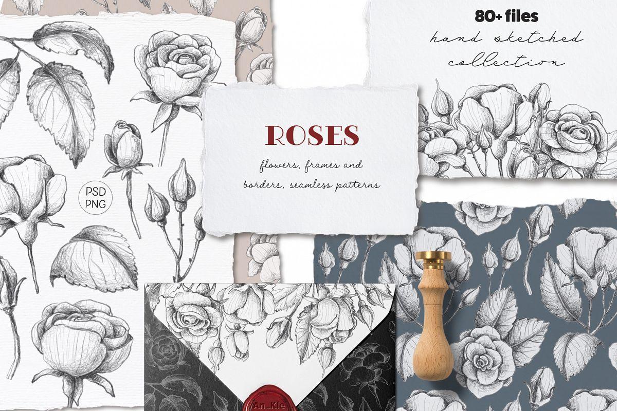 Sketched roses, patterns, frames example image 1