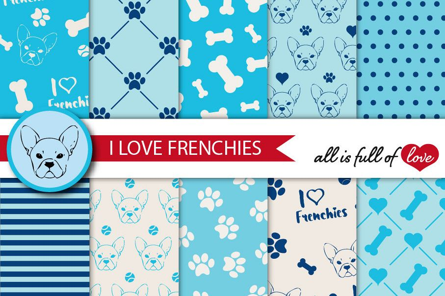 I Love Frenchies Digital Paper French Bulldog Background Patterns in Blue example image 1