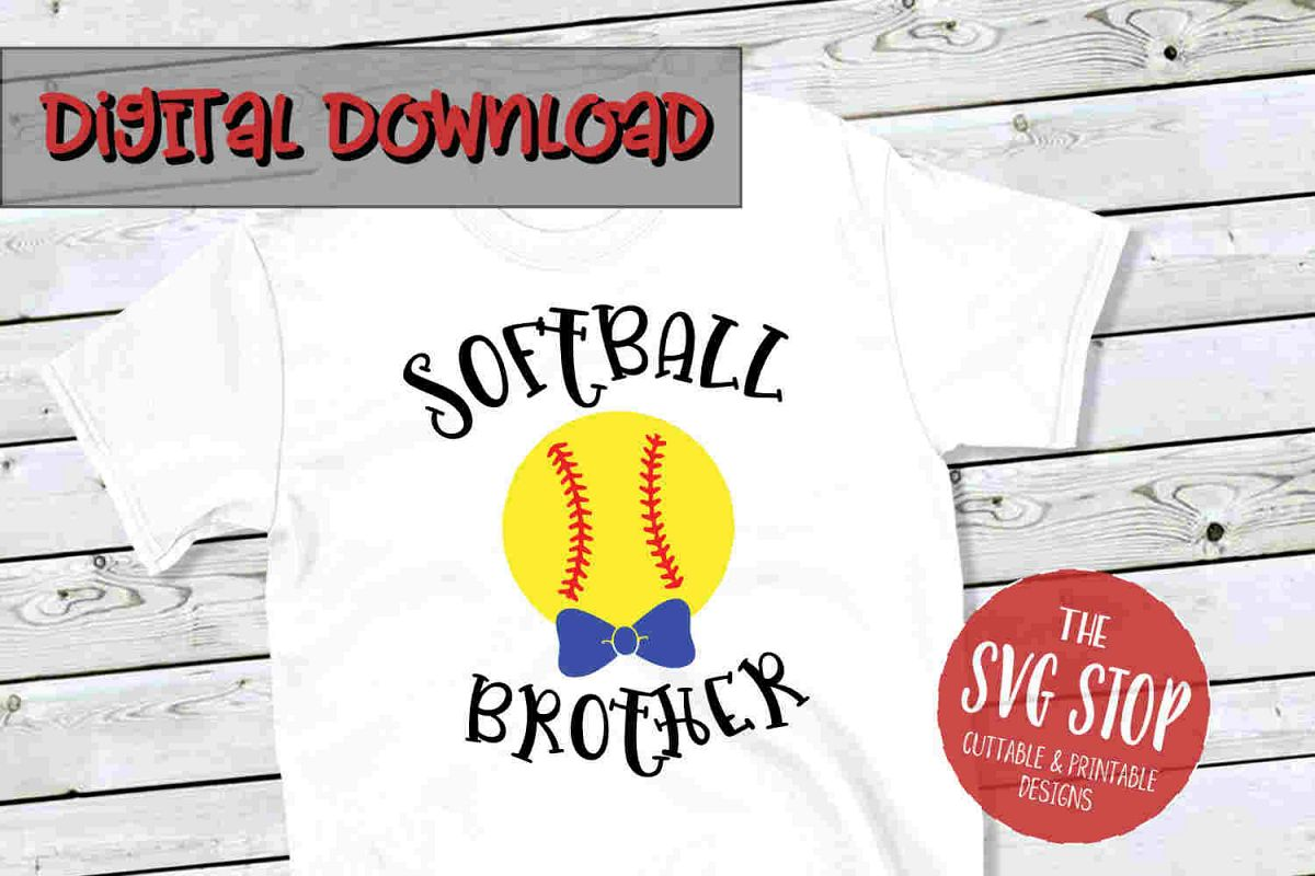 Softball Brother -SVG, PNG, DXF example image 1