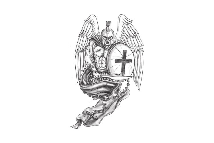 f2a70cffc6d87 Viewing Product. Spartan Warrior Angel Shield Rosary Tattoo