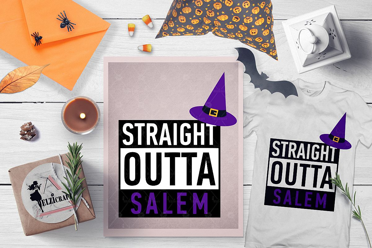 Halloween Straight Outta Salem Witch Hat SVG Cut File example image 1