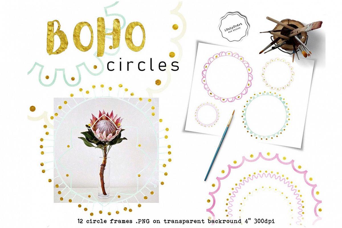 Circle frames clipart - Boho digital frames example image 1