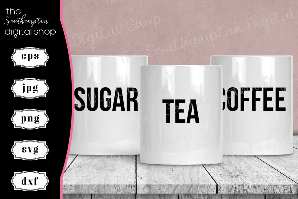 Tea Coffee Sugar Hot Chocolate Creamer Labels V2 example image 1