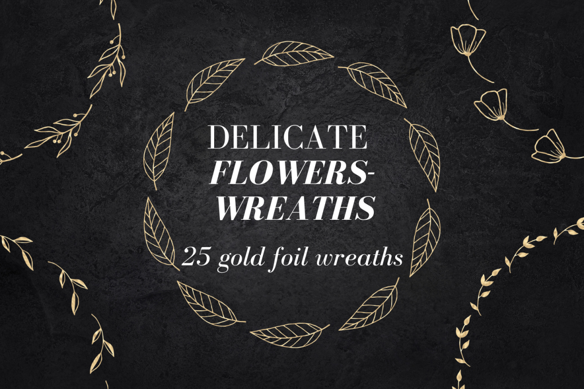 25 Gold wreaths clipart, Delicate Gold hand drawn overlay example image 1